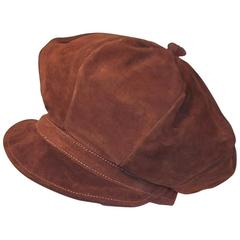 EXTRA! EXTRA! C.1970 Newsboy Style Brown Suede Boho Hat