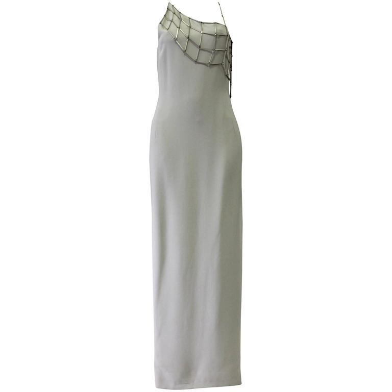 Dramatic and Rare Angelo Mozzillo Webbed Hardware Column Maxi Dress