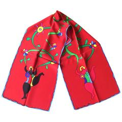 Niki de Saint Phalle New Red Nana with Flowers Silk Scarf