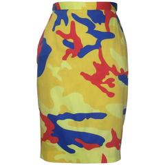 Stephen Sprouse 1980s Warhol Camouflage Print Yellow, Red, Blue Pencil Skirt