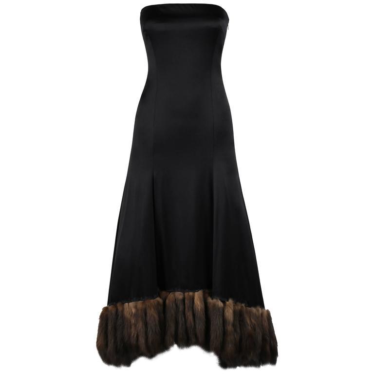 J MENDEL Paris Black Satin Ball Gown Sable Fur Tail Trim Evening ...
