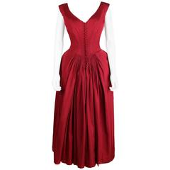 Vtg c.1949 NETTIE ROSENSTEIN Burgundy Red Evening Dress NOS Museum Piece Size S
