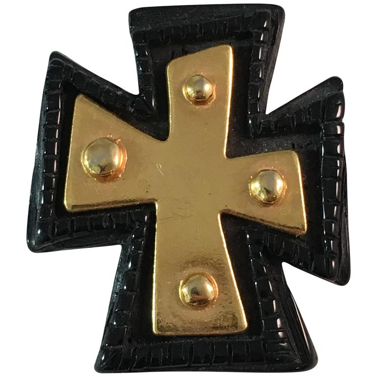 1980s Christian LaCroix Black and Gold Cross Brooch For Sale