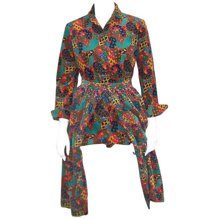 Playful C.1970 Anne Fogarty Corduroy Romper With Bloomer Bottoms & Skirt