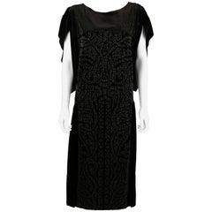 Circa 1922 ADAIR Paris Black Silk Velvet Beaded Evening Flapper Dress Size XL