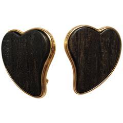 1980s Yves Saint Laurent Wooden and Goldtone Heart Earrings