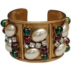 Early 1990s Chanel Gilt Cuff and Green and Red Glass