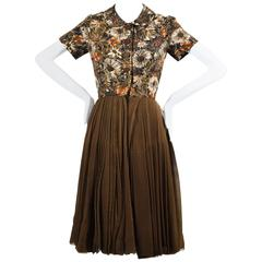 Henri Bendel Olive Green Pleated Brown Floral Print Collared SS Dress