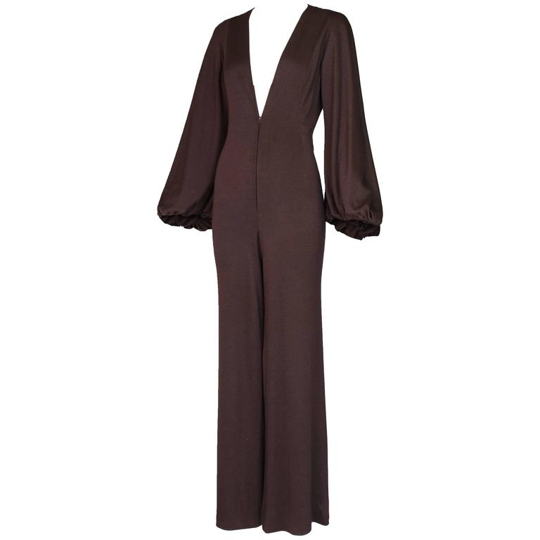 1970's Pauline Trigere Brown Jersey Frontal Zip Jumpsuit