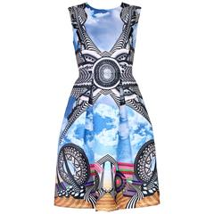 Givenchy Multi-Colored Roller Coaster & Cloud Print Sleeveless Dress