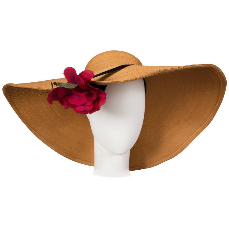 Keneth Hopkins wide brim straw sunhat, circa 1940s For Sale