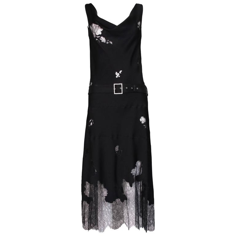 John Galliano Black Silk & Lace Bias Cut Sleeveless Evening Cocktail Dress