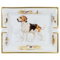 Hermès White & Brown Beagle Ashtray