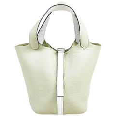 """Hermes Pistache Blanc Clemence Leather """"Picotin Lock PM"""" Tote Bag"""