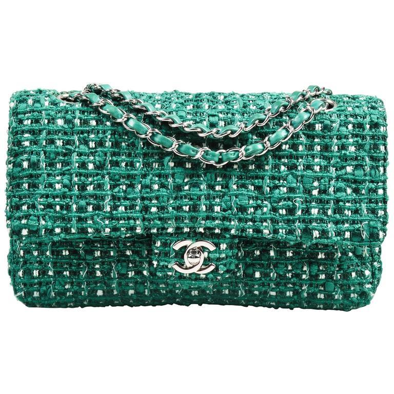 "Chanel Green White Silver Tone Tweed Chain ""Medium Classic Double Flap"" Bag 1"