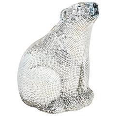 Judith Leiber Couture Silver Rhinestone Polar Bear Chain Strap Clutch Bag