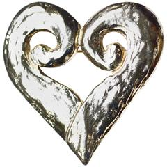 Oversized YSL Abstract Heart Brooch