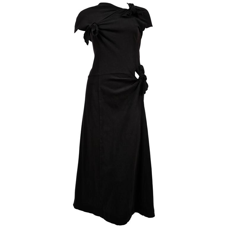 Comme des Garcons black knotted T-shirt dress, 2003  For Sale