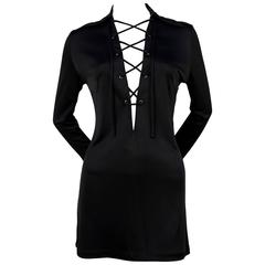 iconic 1996 TOM FORD for GUCCI black lace up mini dress