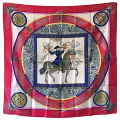 Hermes Vintage Feux d'Artifice Silk Scarf in Red