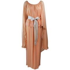 BONWIT TELLER Peach & Apricot Hue Draped Cape Gown Size 4