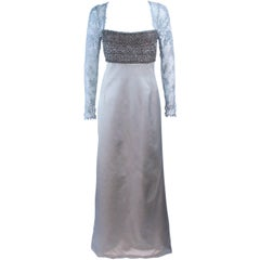 BADGLEY MISCHKA Silver Beaded Lace and Satin Gown Size 10