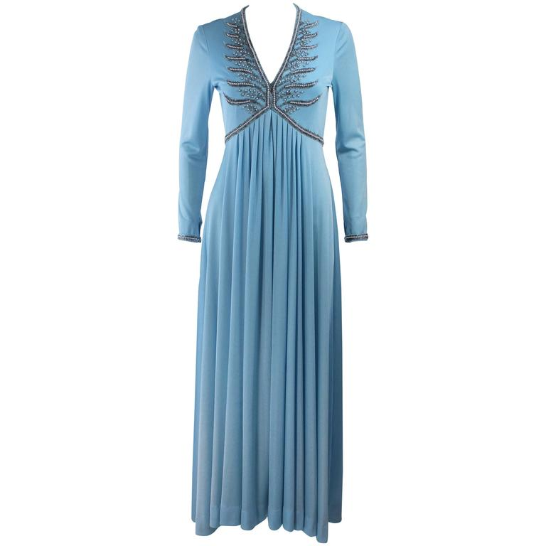 1970's Blue Jersey Gown with Beaded Applique Size Medium