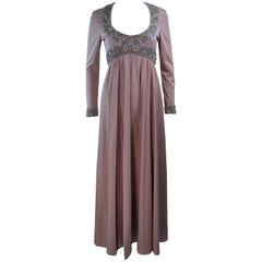VICTORIA ROYAL Toffee Jersey Embellished Gown Size 6 8