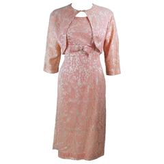 1950's Peach Lace Ensemble Cocktail Dress with Bolero Size 10