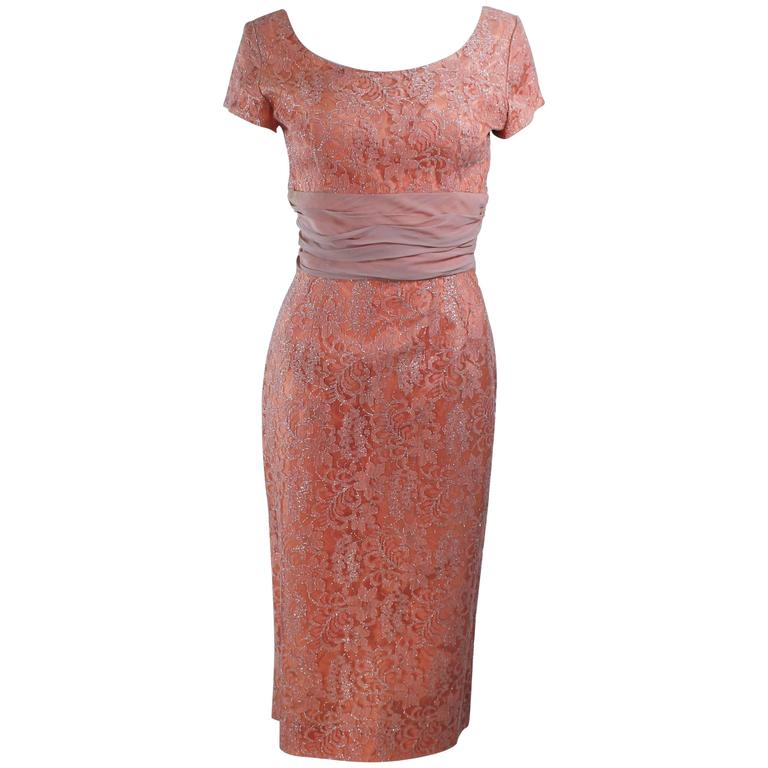 1950's Peach Metallic Lace Short Sleeve Cocktail Dress Size 6