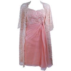CONCHITA 1950's Cocktail Dress and Lace Coat Ensemble Size 4