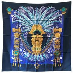 RARE Hermes Vintage Mexique Silk Scarf in Blue