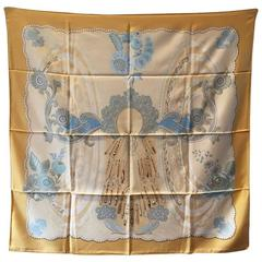 Limited Edition Hermes Doigts de Fee Silk Scarf in Gold