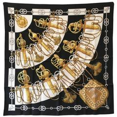 Hermes Vintage Black and White Cliquetis Silk Scarf