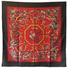 Hermes RARE Vintage Ramage Silk Scarf in Red