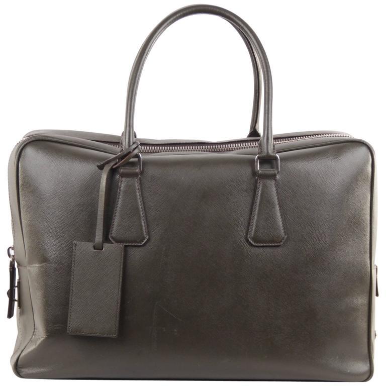 PRADA Military Green SAFFIANO Leather ZIP TOP BRIEFCASE Work Bag