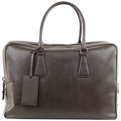 PRADA Military Green SAFFIANO Leather ZIP TOP BRIEFCASE Work Bag