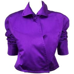 Jockey Style 1980's Ralph Lauren Royal Purple Silk Satin Jacket