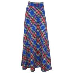 1970's Electric Blue Wool Plaid Maxi Skirt