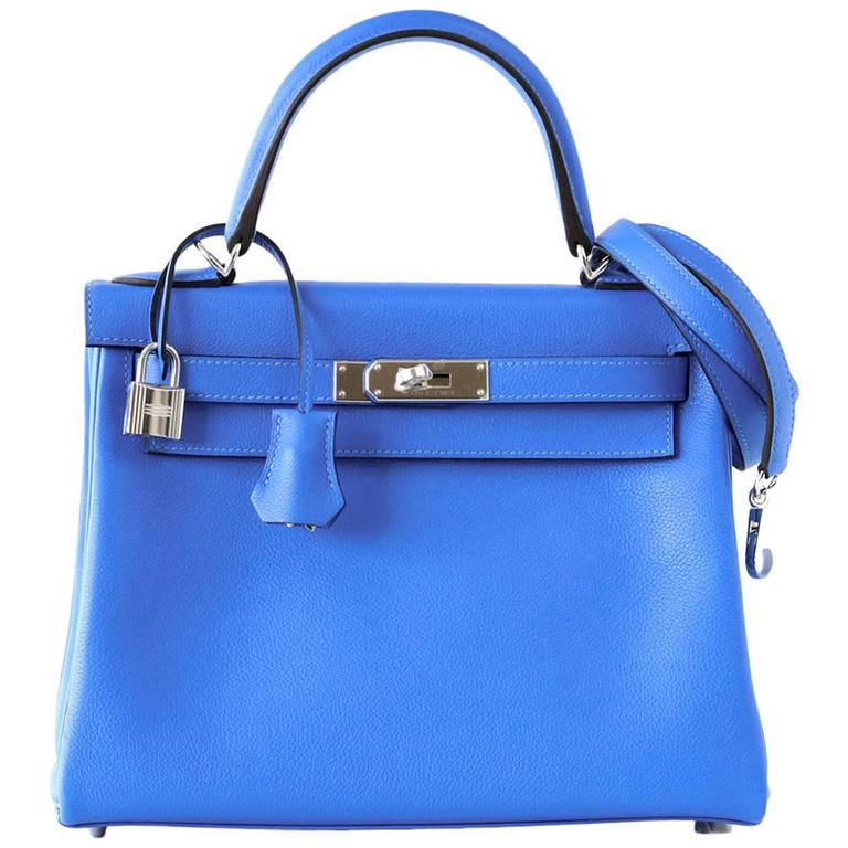 Hermes Kelly 28 Bag Vivid Blue Hydra Palladium Beauty Evercolor Leather 1