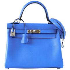 Hermes Kelly 28 Bag Vivid Blue Hydra Palladium Beauty Evercolor Leather