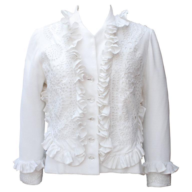 1990s Maxime Jouberthon White Lace and Cotton Jacket
