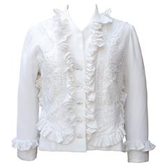 1990s Maxime Jouberthon White Lace and Cotton Jacket
