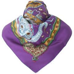 Hermes Silk Scarf De Tout Coeur Swans Purple Zoe Pauwels 90 cm