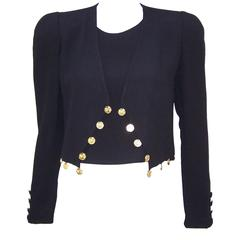 1980's Sonia Rykiel Black Crepe Coin Embellished Jacket With Matching Shell