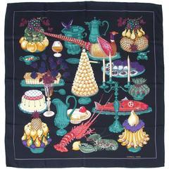Hermes Silk Scarf Gastronomie Christiane Vauzelles Black 90 cm Collector