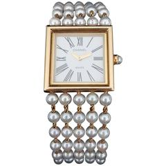 CHANEL Mademoiselle Wrist Watch Pearls and Yellow Gold H0007 Full Set
