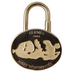 Hermes Golden Padlock Key Ring Key Holder 2003 Year of the Mediterranee