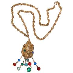 Colorful C.1970 Bejeweled Pendant with Gold Metal Rope Chain