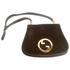 Gucci Luxurious Chocolate Brown Suede Blondie Shoulder Bag c 1970s